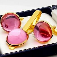 Vintage 1970s Rose Pink Glass - Large Round Goldtone Cufflinks & Tie Clip Set