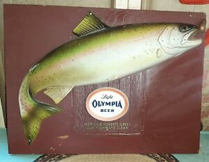 Vintage Olympia Light Beer 3D Fishing Fish with Lure Sign Wall Display RARE