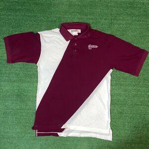 Vintage Nologo Tonix Gators Burgundy & White Colorblock Collared Polo Shirt - S