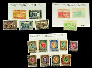 COLOMBIA ARCHITECTURE FAMOUS PEOPLE 17v MINT STAMPS CV $11.90