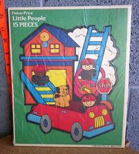 FISHER PRICE vtg Little People frame puzzle 1993 Firemen & Fire Engine w/ dog