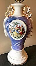 Vintage French Victorian Courting Couple Urn Glazed Ceramic Purple Table Lamp LB