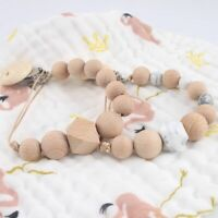 Beech Round Wooden Beads Pacifier Clips Baby Sensory Dummy Soother Chain Holder