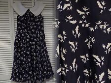 Hell Bunny 1950's Style Navy with White Birds Ada Swing Dress Size Medium Pin-Up