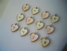 VTG (12) Lucite Pink & Clear Mustard Seed Heart Charms Pendants Religious B