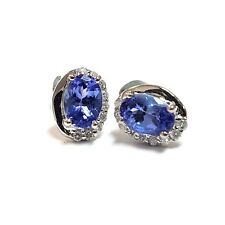 2 00 Carat Tanzanite Diamond Earrings In 18k White Gold Uk Hallmarked