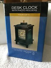 Ps Desk Clock with 3 Photo Holders Dark Wood Brand New in Box