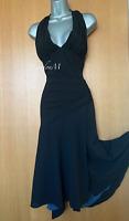 Karen Millen UK 12 Black Halterneck Open Back Wrap Style Occasion Midi Dress 40