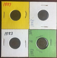 [lot of 4]1882 P, 1883 P, 1883 P, 1887 P Indian Head Penny.