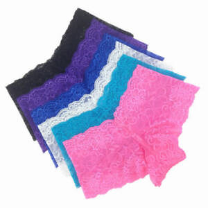 6 Pack Ladies Ultra Thin Full Lace French Knickers Boxer Shorts Lingerie UK