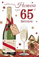 65th HUSBAND BIRTHDAY CARD AGE 65 ~ CHAMPAGNE BOTTLE DESIGN~QUALITY NICE VERSE