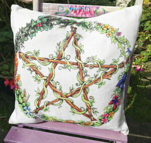 Pentacle Cushion cover wheel of the year home decor scatter Pagan Wicca Witch