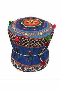 Rajasthani Handmade Patchwork Cotton Single Mudda/Ottoman/Pouffe Bamboo