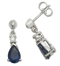 Sapphire and Diamond Drop Earrings White Gold Drops Appraisal Certificate