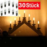 30x E10 LED Ersatzbirnen Top Kerze für Lichterketten Lampe 0,2 W/10-55V warmweiß