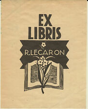EX-LIBRIS R. LECARON, 20ème siècle.