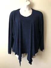 NWT EFFORTLESS STYLE CITIKNITS Blue/white dots 1X Acetate/Spandex Set Jacket&Top
