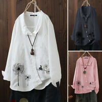 ZANZEA UK Womens Casual Loose Cotton Floral Printed Top Shirt Button Down Blouse