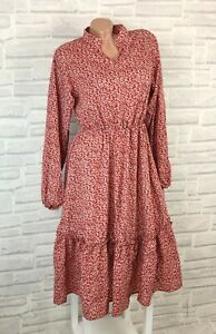 Blogger Hängerchen Kleid Tunika Volant Print V Ausschnitt 38 40 42 Rot R210 Neu