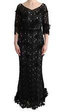 Dolce & Gabbana Dress Black Cotton Silk Floral Long Gown S. It40 / Us6