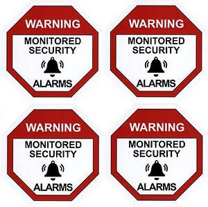 Alarm Warning Sticker, Home Security Vinyl Decal, Burglar House Security Sign X4