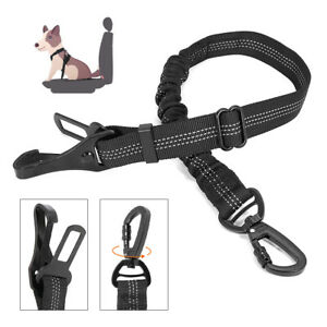 Elastic Dog Car Vehicle Seat Belt Reflective Travel Clip for Pet Harness Lead