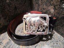 Rare!!! Kieselstein-Cord Sterling Charging Bull Buckle with Black Lizard Belt
