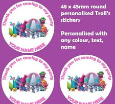 48 Personalised Birthday Party Stickers Thankyou Sweet Cones Bags Seals - Trolls