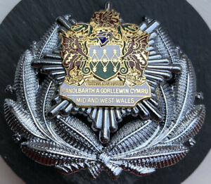 ORIGINAL MID AND WEST WALES FIRE SERVICE OFFICERS CAP BADGE.