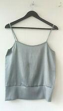 PIKENE Norwegian designer stretch silk strap top, satin grey , S