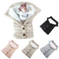 Newborn Infant Baby Blanket Knit Crochet Winter Warm Swaddle Wrap Sleeping Bag