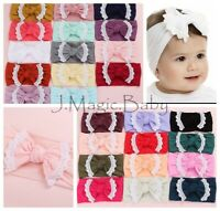Baby Girl Lace Trim Nylon Bow Turban Top Knot Headband Newborn Accessories