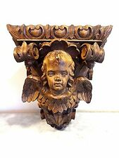 Catholic Antique Wood carved Baroque Winged Angel Wall Sconce reliquary holder