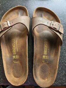 Birkenstock Womens Sandal, Size 38, Brown Leather
