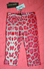 New Roberto Cavalli Girl's Leopard Pink Stretchy Viscose Leggings (24 Months)