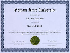 Doctor Death Novelty Diploma Grim Reaper Executioner