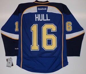 "BRETT HULL ST. LOUIS BLUES REEBOK PREMIER HOME JERSEY WITH ""C"" NEW"