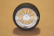 RC 1/10 Car Wheels Tire WHITE w/ CHROME LIP Semi Slick Street Tread
