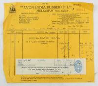 Vintage Automoblia Receipt The Avon India Rubber Co Ltd