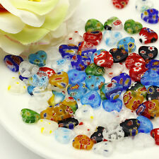 100pcs lots Mixed Multi-Color Shining Heart Millefiori Glass Craft Beads 10mm
