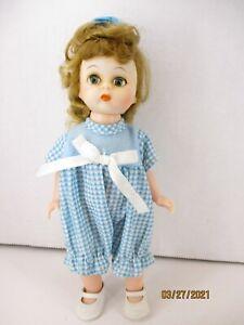 "1960's? Hard Plastic 71/2"" Alex straight leg Molded Lash Blue dress"