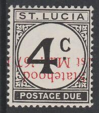 St Lucia (700) 1967 Statehood POSTAGE DUE 4c opt INVERTED u/m