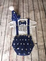 Baby Boy First 1st Birthday Cake Smash Prop Blue Stars Outfit Handmade
