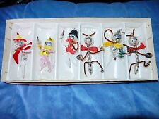 6 VTG ANAMORPHIC FAIRY BUGS INSECTS BEADED GLASS XMAS ORNAMENT IN BOX CZECH NICE