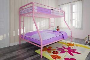 Kids Twin Over Full Bunk Bed For Girls Pink Ladder Cama Para Niñas Rosa Litera
