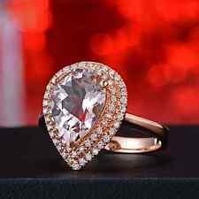 Noble 2.88ct Solid 14K Rose Gold Natural Morganite Diamond Anniversary Fine Ring