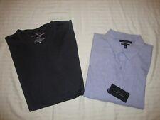 Set of 2 Men's Marc Anthony Shirts - Purple Dress Shirt & Henley Gray - Size XXL