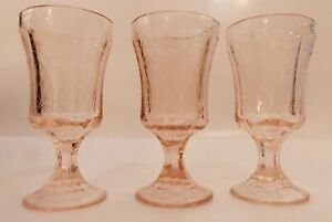 3 Pink Indiana Glass Madrid Goblets