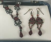 Statement Necklace Drop Earings Set Red Black Chain Vintage Style Ornate Gothic