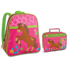 Stephen Joseph Girls Horse School Backpack and Lunch Box for Kids - Book Bags